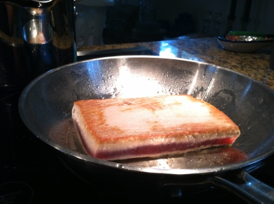 """Pan sear on med-high heat to form a nice crisp crust. Once 1/4"""" has cooked to opaque, turn it over just to color the other side."""