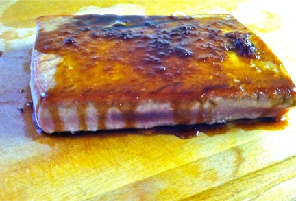 Once the tuna is removed from the pan, pour in the glaze, and allow to reduce for 30-40 seconds. Then, pour over the fish.