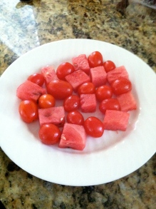 Start with cubed watermelon, and cherry tomatoes...