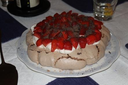 Chocolate Pavlova with Strawberries at www.culinarycousins.com